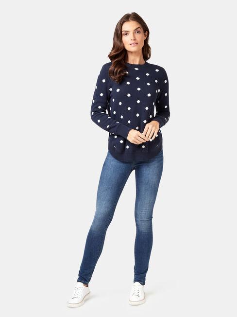 Alexa Irregular Spot Knit, White, hi-res
