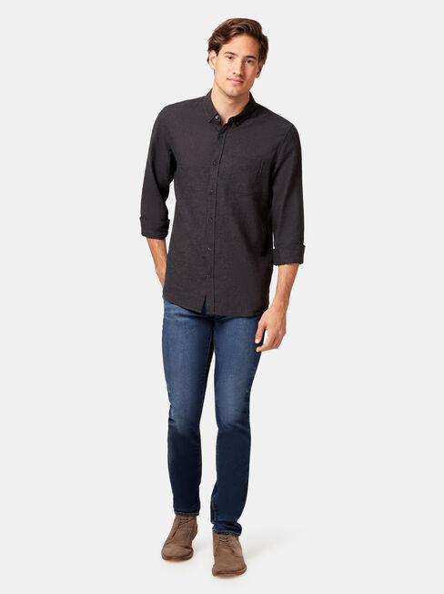 LS Brando Textured Shirt, Black, hi-res