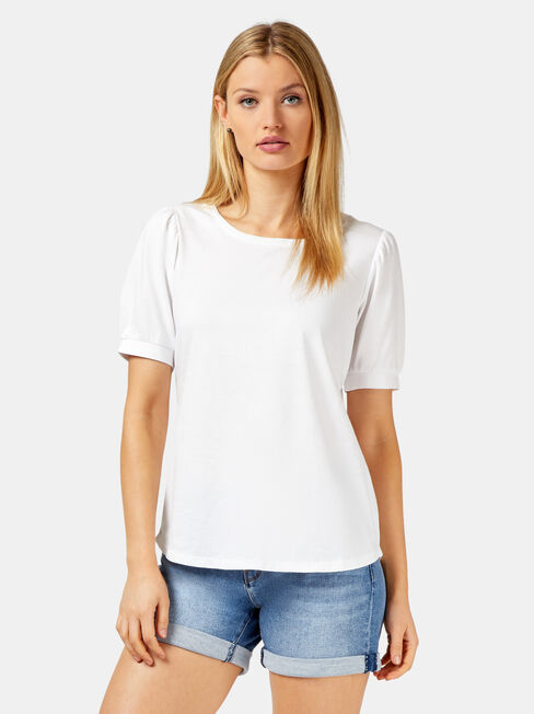 Willow Puff Sleeve Top, White, hi-res