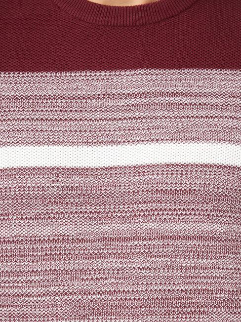 Grant Block Stripe Crew Knit, Red, hi-res