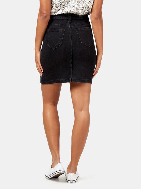 Kelly Button Through Skirt, Black, hi-res