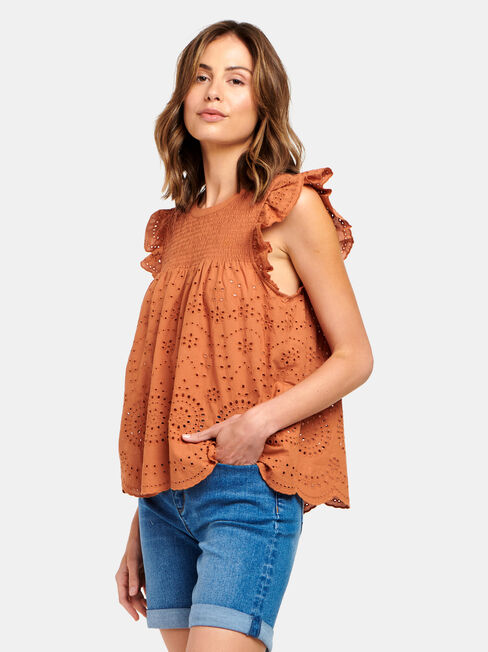 Bonnie Broderie Top, Red, hi-res