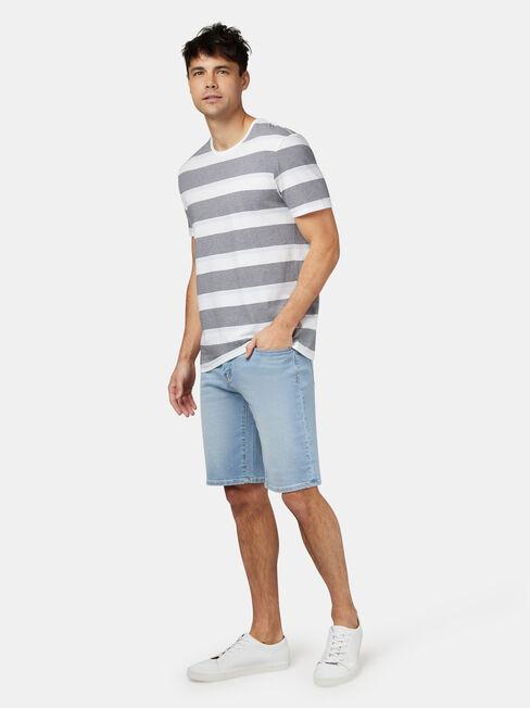 Patrick Short Sleeve Stripe Crew Tee, Blue, hi-res