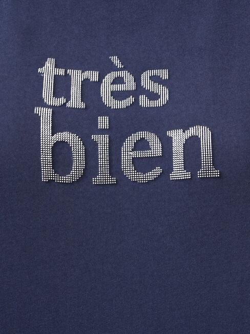 Tres Bien Slogan Tee, Blue, hi-res