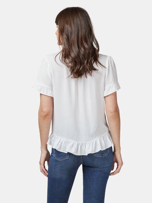 Natasha Button Through Top, White, hi-res