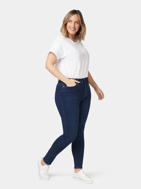 Eco Soft Curve Embracer High Waisted Skinny 7/8 Jeans Dark Indigo