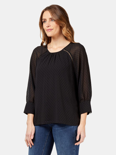 Jay High Neck Blouse, Black, hi-res