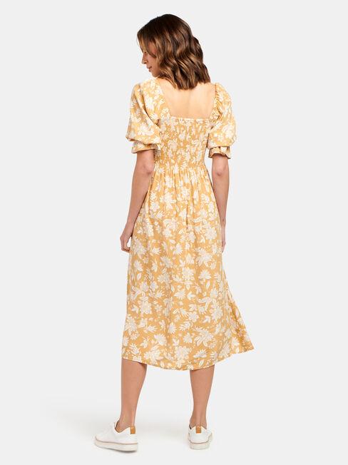 Shell Shirred Bust Dress, Yellow, hi-res