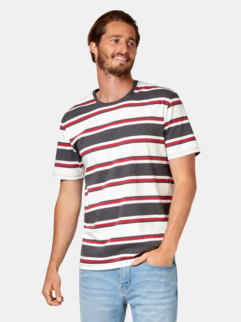 Banjo Short Sleeve Stripe Crew Tee, Grey, hi-res