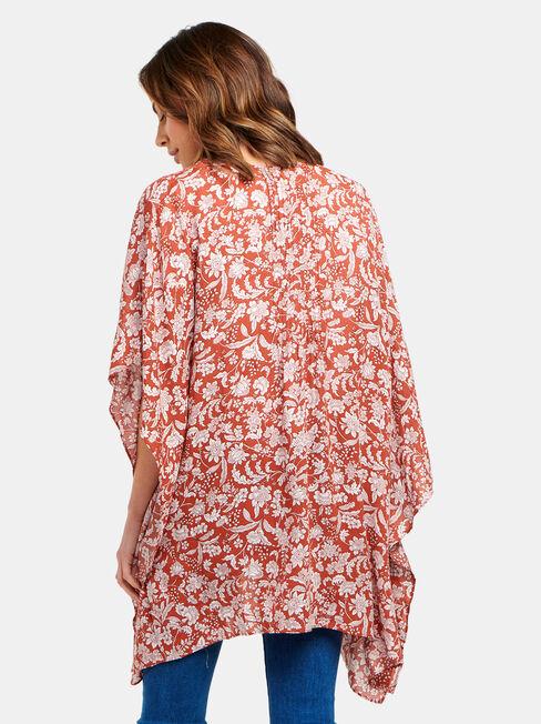 Polly Printed Kimono, Floral, hi-res