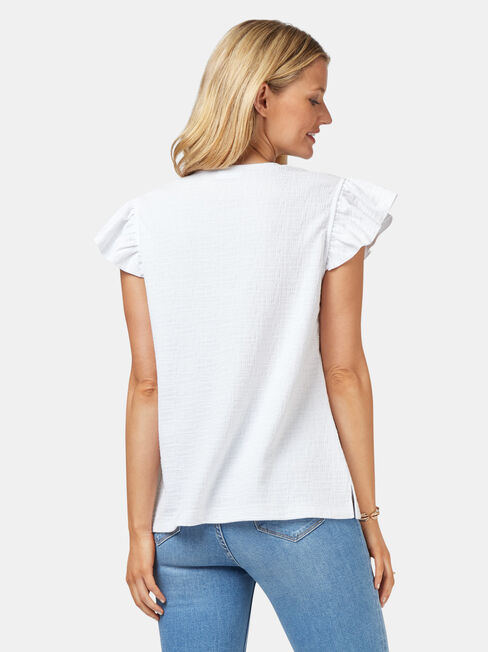 Harlow Textured Button Thru Tank, White, hi-res