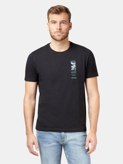 Clifton Short Sleeve Print Crew Tee, Black, hi-res