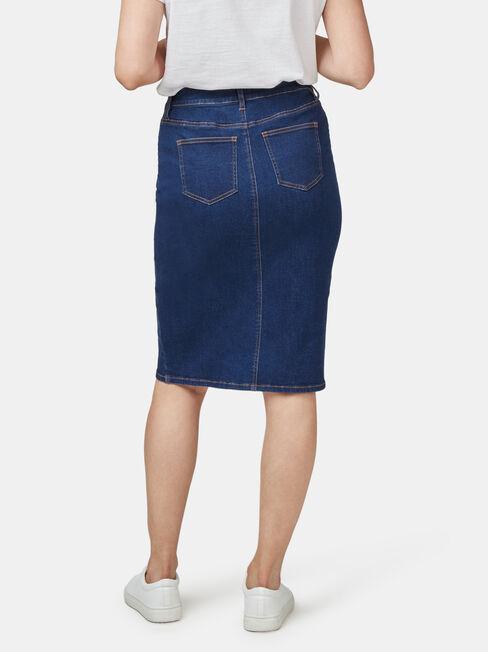 Denim Button Thru Skirt, Blue, hi-res