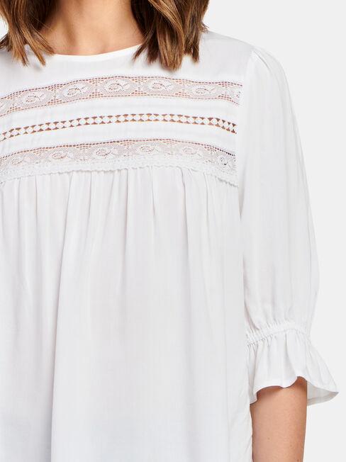 Louisa Lace Detail Top, White, hi-res