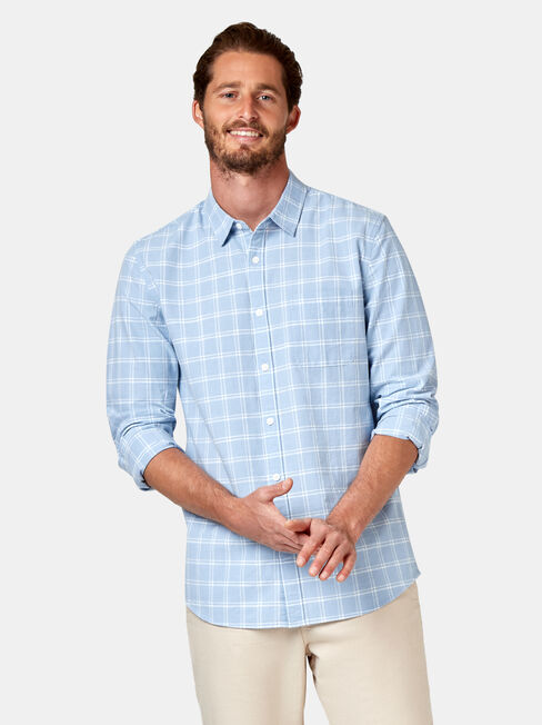 Cooper Long Sleeve Check Shirt, Blue, hi-res