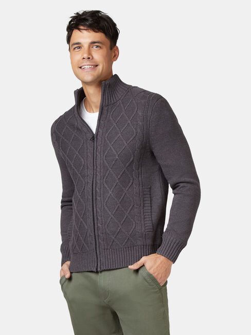 Theodore Sherpa Lined Cable Jacket, Grey, hi-res