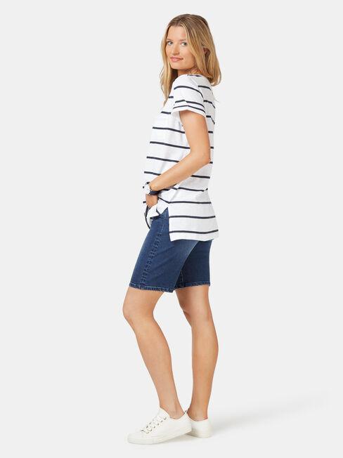 Relaxed Pocket Slub Tee, Blue Stripe, hi-res