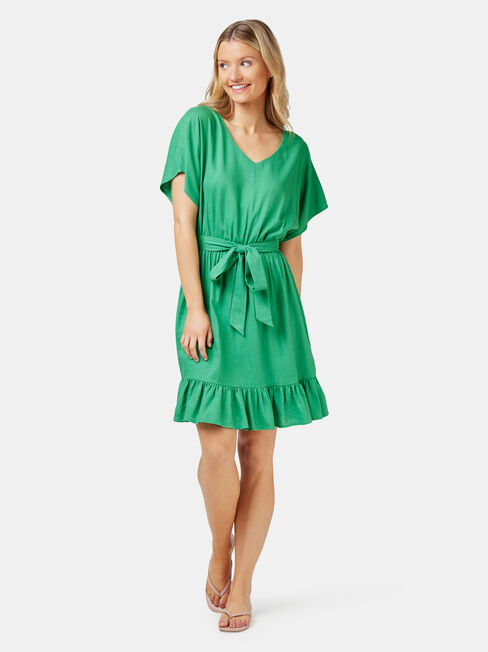 Leah Ruffle Dress, Green, hi-res