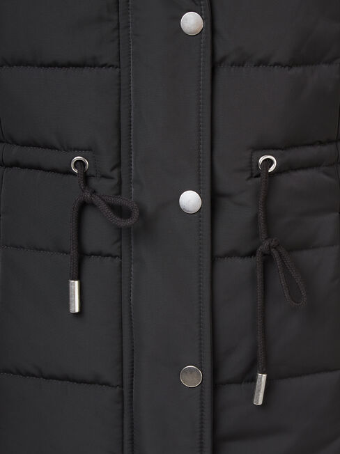 Bella Padded Vest, Black, hi-res