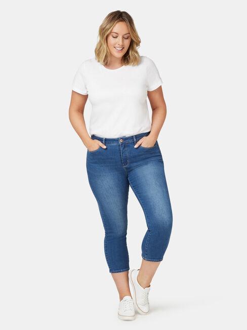 Kara Curve Embracer Skinny Capri Bright Indigo, Mid Indigo, hi-res