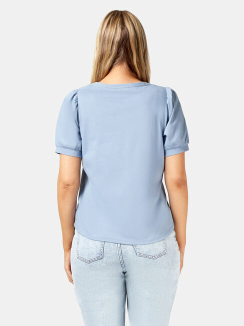 Willow Puff Sleeve Top, Blue, hi-res