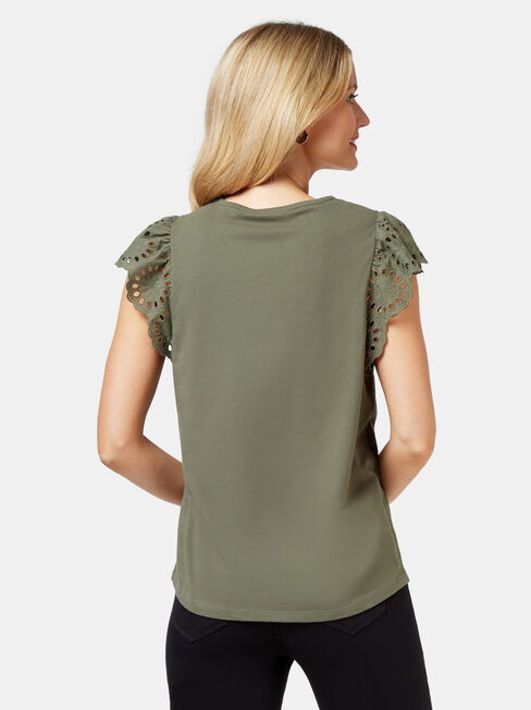 Parker Broderie Tee, Green, hi-res