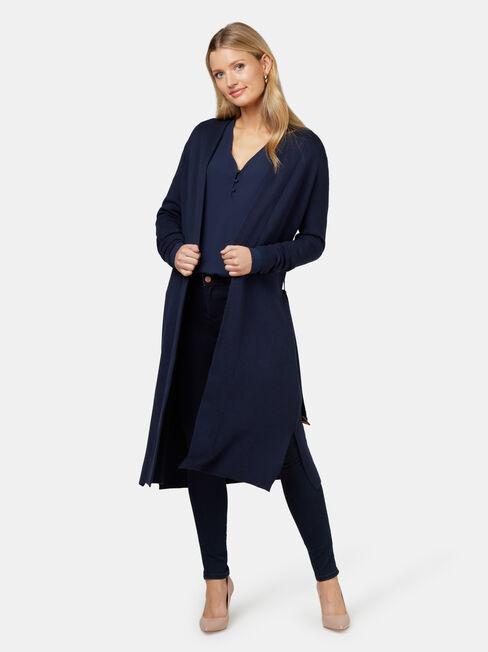 Nina Button Front Blouse, Blue, hi-res