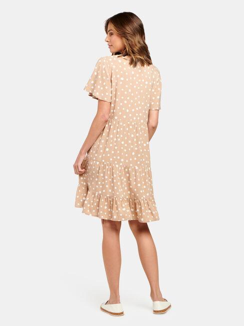 Katie Tiered Dress, Brown, hi-res