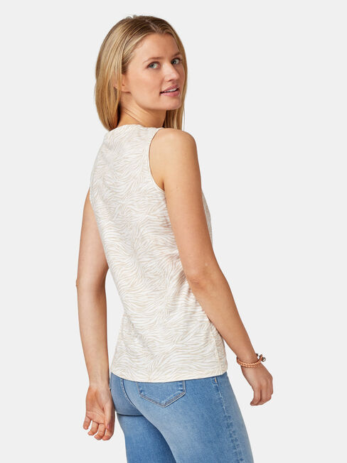 Brielle Rouched Side Tank, Stripe, hi-res