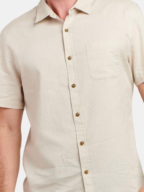 Ethan Short Sleeve Textured Shirt, Brown, hi-res