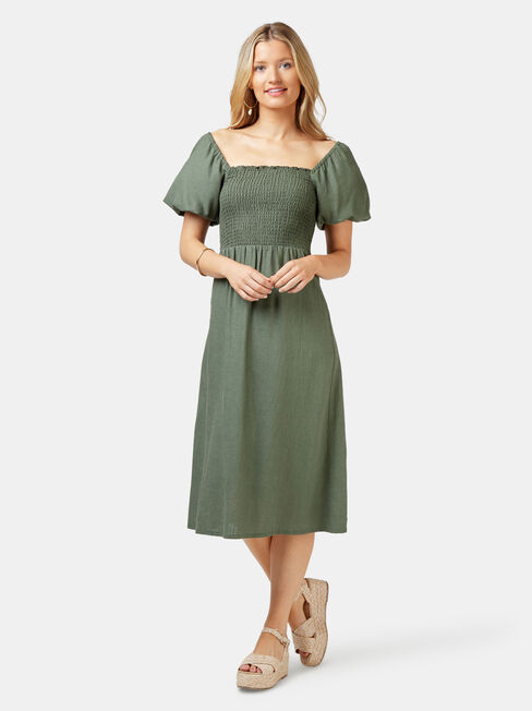 Reese Shirred Bust Dress, Green, hi-res