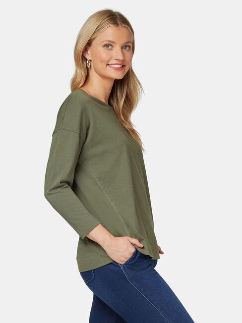 3/4 Sleeve Drop Shoulder Tee, Khaki, hi-res