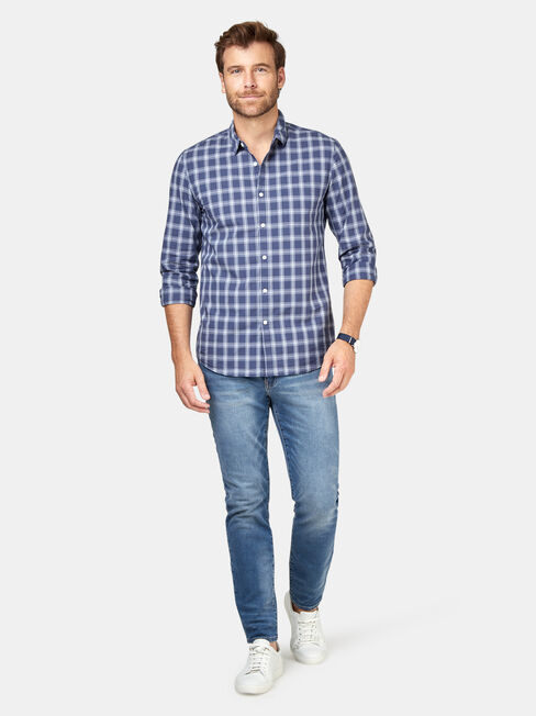 Turner Long Sleeve Check Shirt, Blue, hi-res