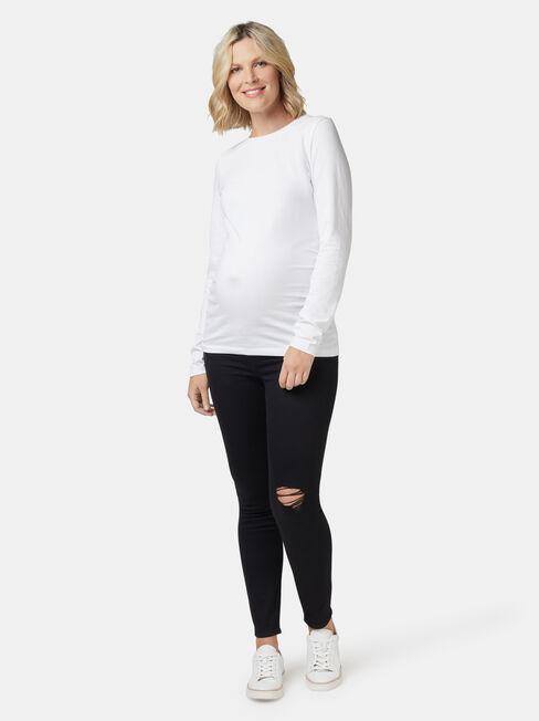 Isabelle Maternity Distressed Skinny 7/8th Jean, Black, hi-res