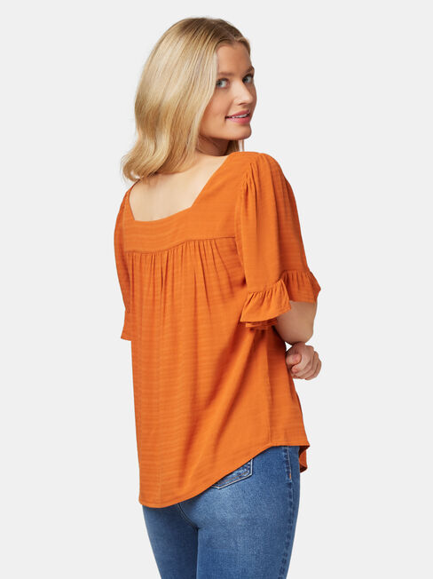 Rhani Flutter Sleeve Blouse, Orange, hi-res
