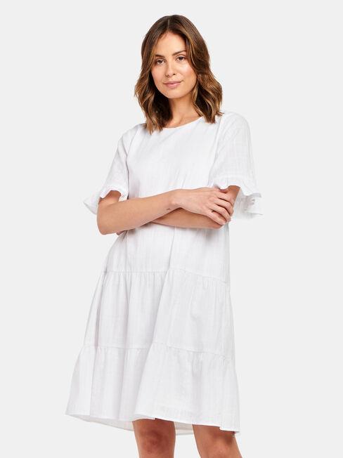 Julia Tiered Kaftan Dress, White, hi-res