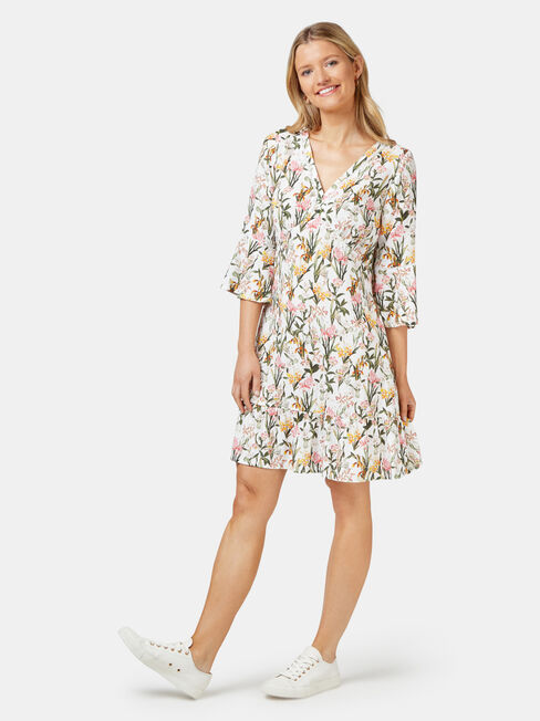 Molly Ladder Dress, White, hi-res