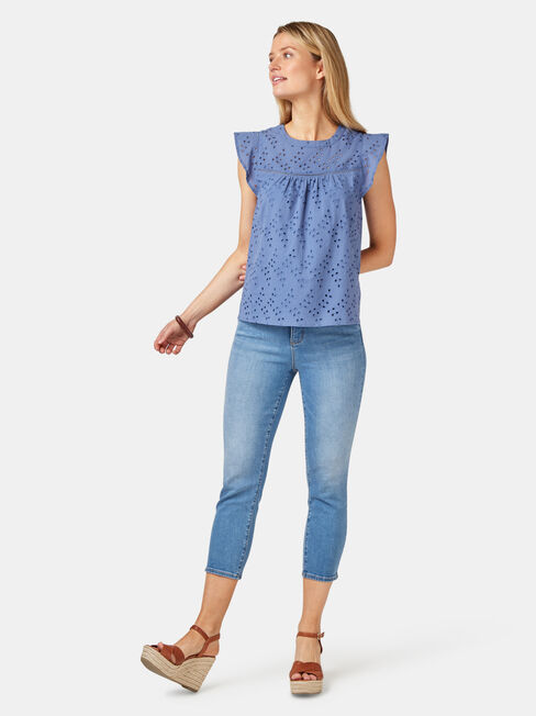 Gianna Broderie Top, Blue, hi-res