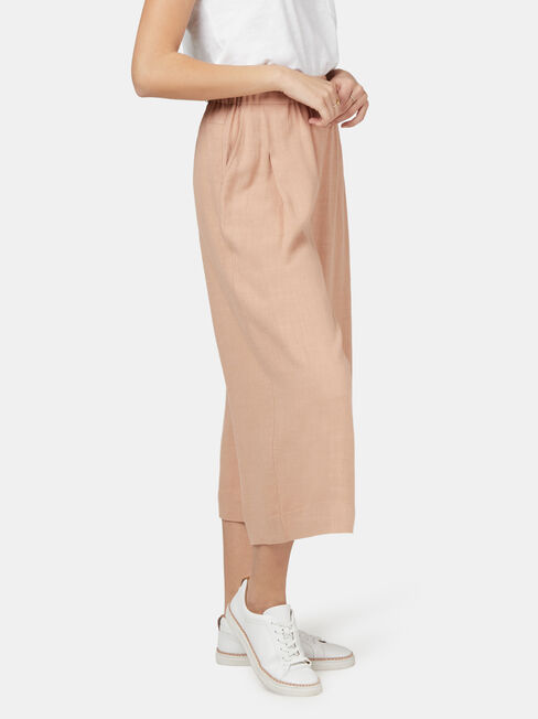 Ava Wide Leg Elastic Waist Pant, Brown, hi-res