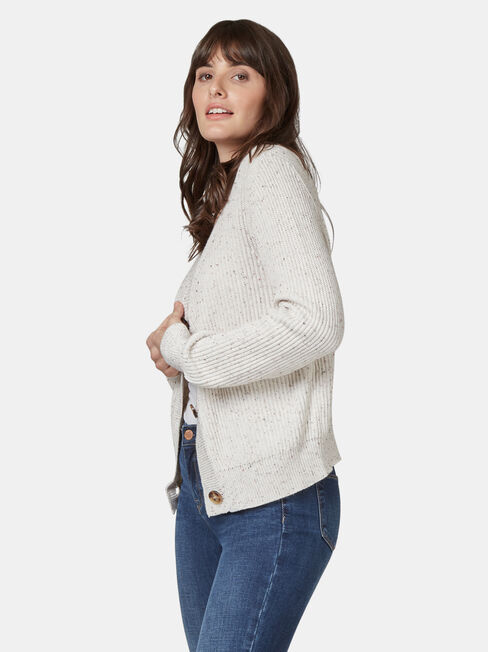 Camille Cropped Cardi, White, hi-res