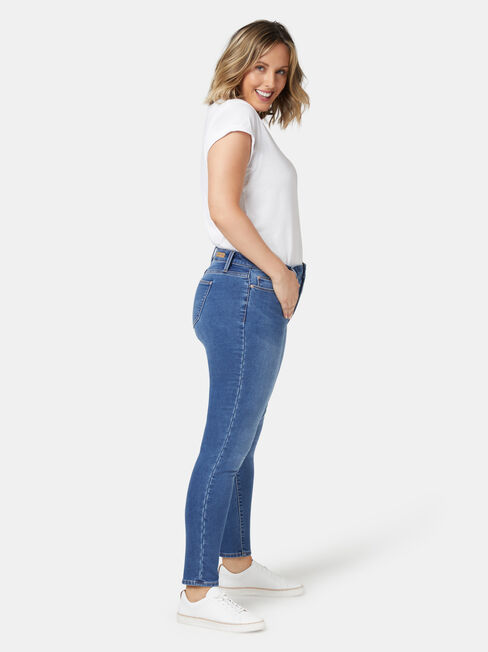 Feather Touch Curve Embracer Skinny 7/8 Jeans Mid Indigo