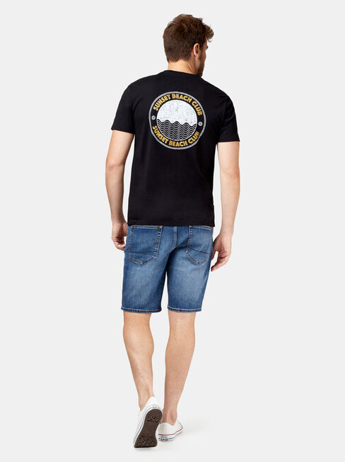 August Short Sleeve Print Crew Tee, Black, hi-res