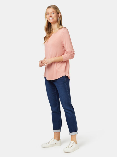 Maddie Soft Touch Curve Hem Pullover, Pink, hi-res