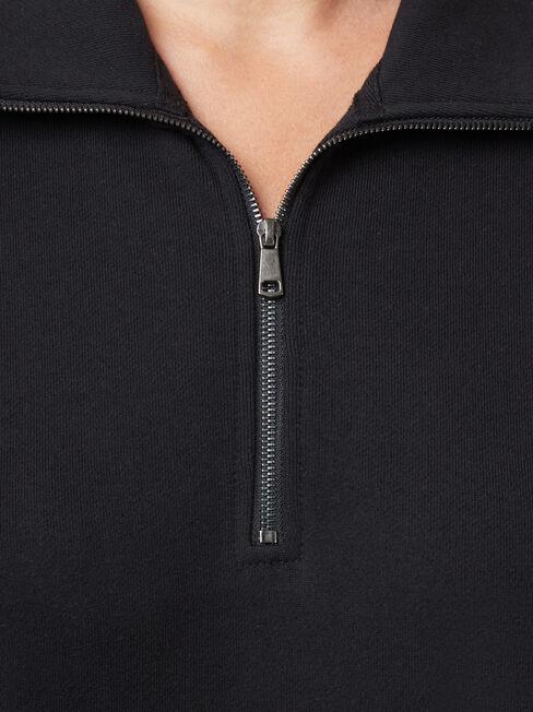 Zip Front Sweat, Black, hi-res