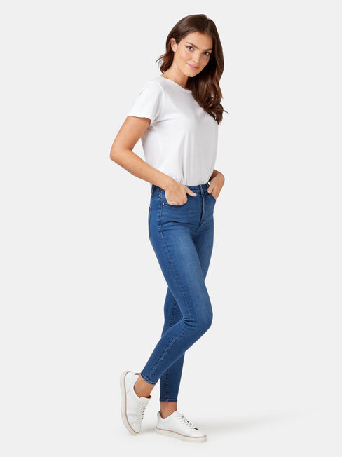 Eco Soft Mid Waisted Skinny 7/8 Jeans Bright Indigo