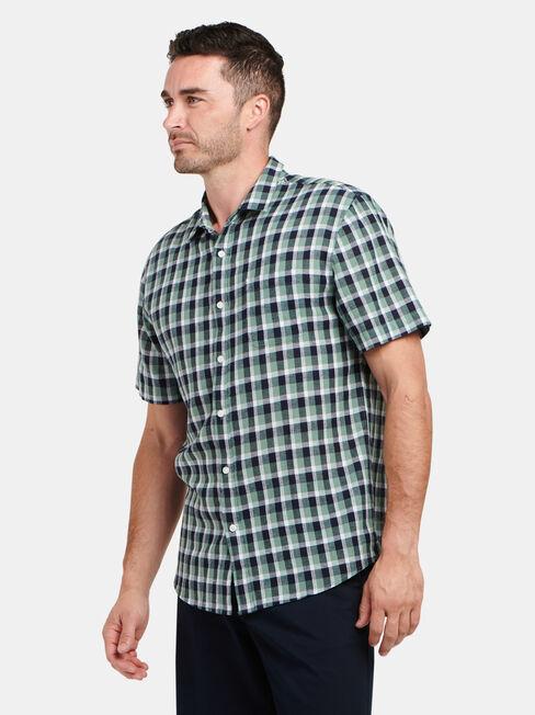 Trent Short Sleeve Check Shirt, Blue, hi-res
