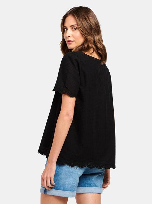 Sara Square Neck Textured Top, Black, hi-res
