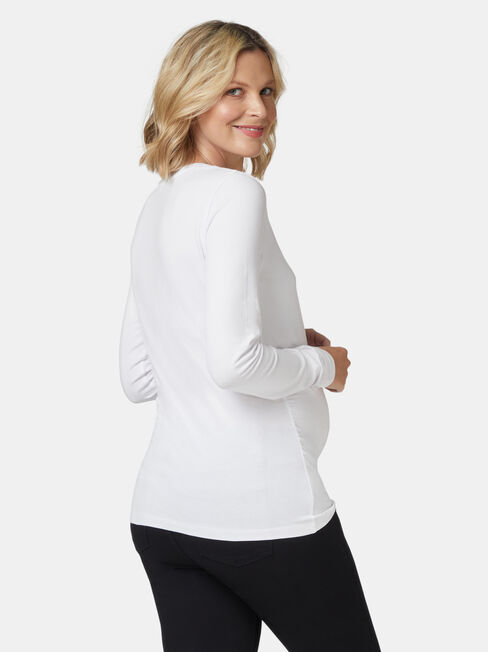 Natalie Basic Long Slv Top, White, hi-res