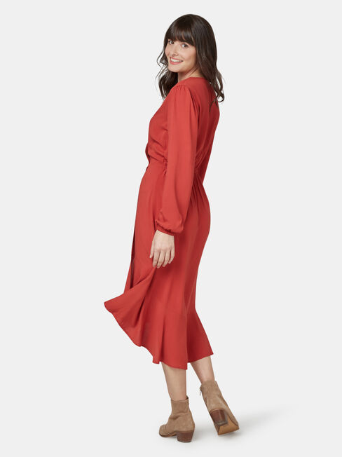 Sandy Concave Long Sleeve Dress, Red, hi-res