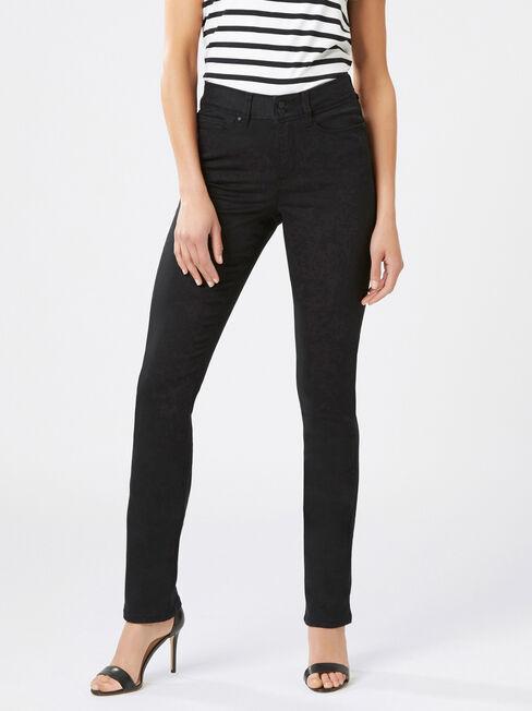 Tummy Trimmer Slim Straight Jeans  Black
